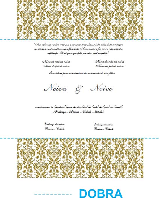 Modelo Dobra Convite Casamento