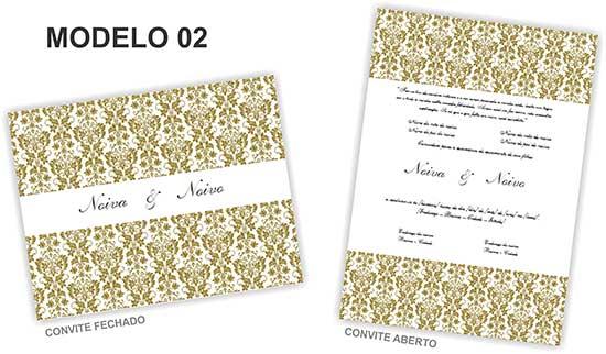Modelo 2 Convite de Casamento Clássico Editar Word