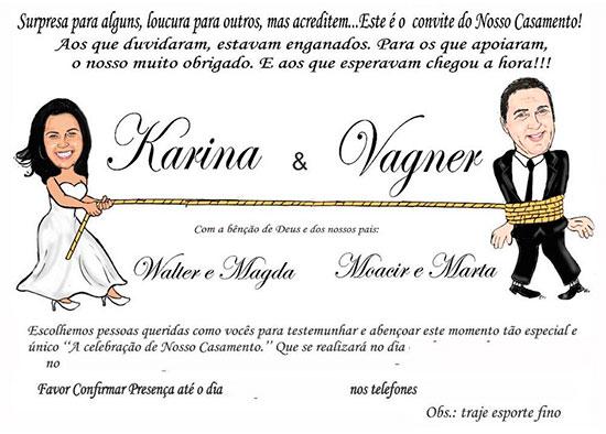 Modelo Convite Casamento Caricaturas