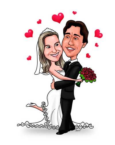 Caricaturas Digitais Casamento