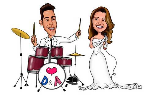 Caricaturas Casamento