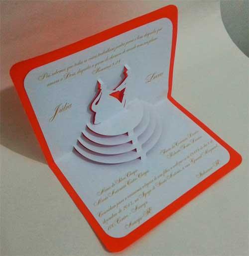 Convite Casamento Pop Up 3D