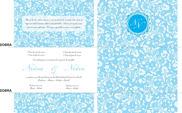 Modelo Convite Casamento Monograma