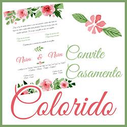 Convite Casamento Floral Colorido