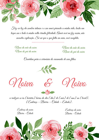 Modelo Convite Casamento Floral Colorido para Editar