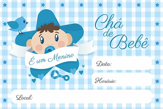 Convite Chá Bebê Menino