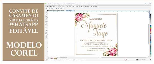 Convite Casamento Whatsapp Editável Corel