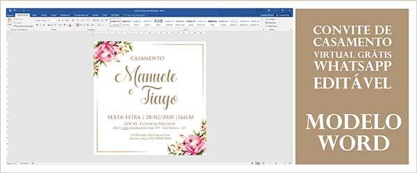 Convite Casamento Whatsapp Word Editável