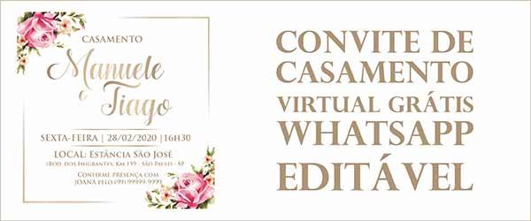 Modelo Convite de Casamento Virtual Grátis Whatsapp Editável